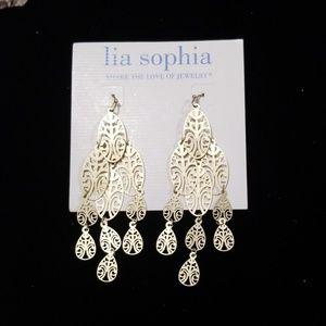 Gold matte Chandelier Style Earrings NWT